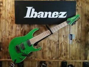 Ibanez RGR5227MFX-TFG RG Prestige E-Guitar 7 String Transparent Fluorescent Green + Case M20RG